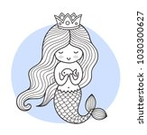cute cartoon princess mermaid... | Shutterstock .eps vector #1030300627