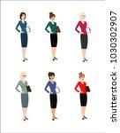 set of character business woman.... | Shutterstock .eps vector #1030302907