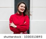 smiling happy beautiful young... | Shutterstock . vector #1030313893