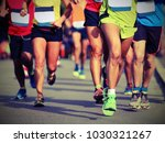 many legs of runners at finish...   Shutterstock . vector #1030321267