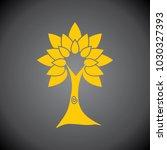 yellow tree icon on black... | Shutterstock .eps vector #1030327393