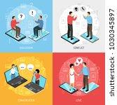 chatrooms online 4 isometric...   Shutterstock .eps vector #1030345897
