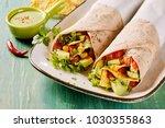 tasty tex mex vegetarian... | Shutterstock . vector #1030355863