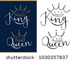 queen and king. black text logo ... | Shutterstock .eps vector #1030357837