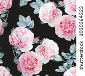 seamless watercolor pink roses... | Shutterstock . vector #1030364323