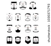 a set of bearded men  with... | Shutterstock .eps vector #1030371793