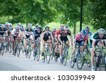 BALTIMORE, MARYLAND - MAY 20: Cyclists compete in the MABRA criterium championships at BikeJam on May 20, 2012 in Baltimore, Maryland - stock photo