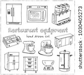 restaurant equipment hand drawn ... | Shutterstock .eps vector #1030405273
