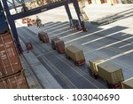 container terminal in african harbour - stock photo
