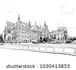 building of the hungarian...   Shutterstock .eps vector #1030413853