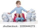 happy baby boy sitting on... | Shutterstock . vector #1030444273