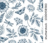 floral seamless pattern. linear ... | Shutterstock . vector #1030458583