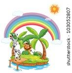 Illustration Of Animals On An...