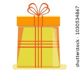 a big yellow new year's gift... | Shutterstock .eps vector #1030534867