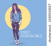 fashion poster in pastel colors. | Shutterstock .eps vector #1030543027