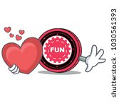 with heart funfair coin mascot... | Shutterstock .eps vector #1030561393