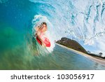 body boarder surfing blue ocean ... | Shutterstock . vector #103056917