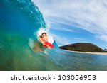 body boarder surfing blue ocean ... | Shutterstock . vector #103056953