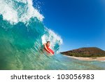 body boarder surfing blue ocean ... | Shutterstock . vector #103056983