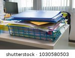 file folder and stack of... | Shutterstock . vector #1030580503