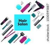 hair salon concept. tools and...   Shutterstock .eps vector #1030595887