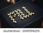 the word pill made up of tablets | Shutterstock . vector #1030596253
