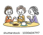 senior woman  tea time  friends | Shutterstock .eps vector #1030604797