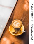 flat white coffee glass on...   Shutterstock . vector #1030614457