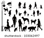 people walking with dogs. black ... | Shutterstock .eps vector #103062497