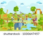 zoo landscape scenery animal... | Shutterstock .eps vector #1030647457