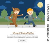 werewolf chasing the man job... | Shutterstock .eps vector #1030684297