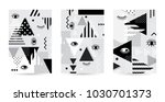 trendy eyes  pattern covers set.... | Shutterstock .eps vector #1030701373