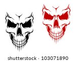 Smiling skull in black and red versions for t-shirt or halloween design. Jpeg version also available in gallery - stock vector