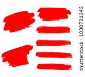 set of hand painted red brush... | Shutterstock .eps vector #1030731343