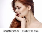 woman on blue background ...   Shutterstock . vector #1030741453