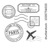 set of black stamps. postmarks... | Shutterstock . vector #1030756033