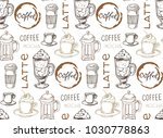 hand drawn doodle coffee pattern   Shutterstock .eps vector #1030778863