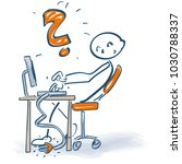 stick figure at desk with... | Shutterstock .eps vector #1030788337