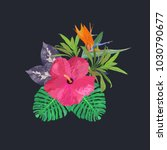 bouquet with tropical plants.... | Shutterstock .eps vector #1030790677