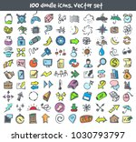 vector doodle icons set. stock... | Shutterstock .eps vector #1030793797