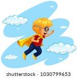 boy in hero costume flying in...