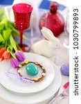 beautiful table setting with... | Shutterstock . vector #1030799893