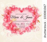 wedding card or invitation with ... | Shutterstock .eps vector #103081067