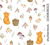 seamless pattern with fox ... | Shutterstock .eps vector #1030838323
