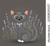 cute cartoon black cat on... | Shutterstock .eps vector #1030839337