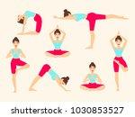 yoga poses. asanas. female... | Shutterstock .eps vector #1030853527