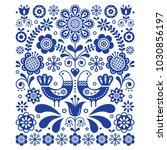 scandinavian cute folk art... | Shutterstock .eps vector #1030856197
