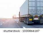 Small photo of Truck on highway road container, transportation concept.,import,export logistic industrial Transporting Land transport on the asphalt expressway