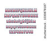 comic lettering font 3d. vector ... | Shutterstock .eps vector #1030878187