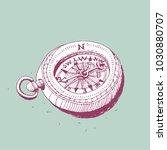 hiking compass vector... | Shutterstock .eps vector #1030880707